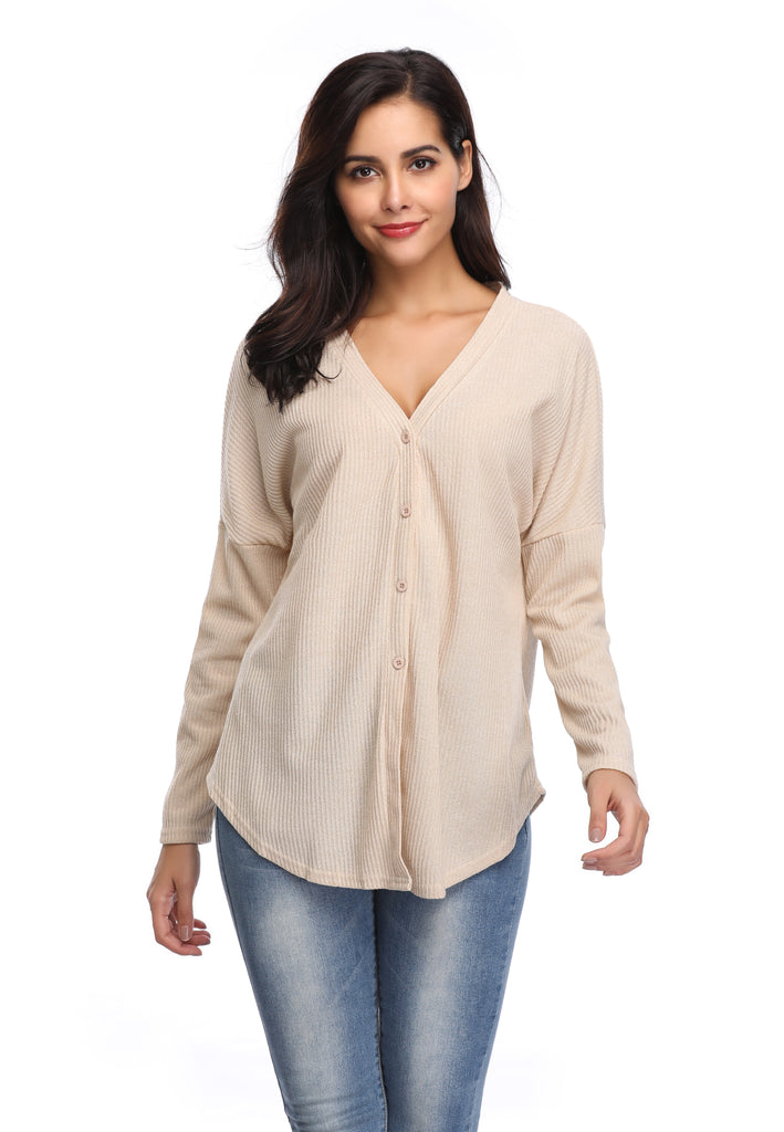 LIGHTWEIGHT BUTTON DOWN V-NECK