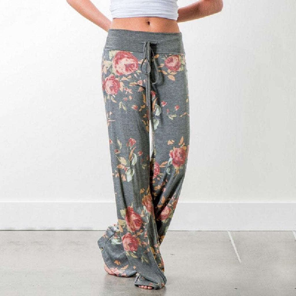 FLORAL PANTS WITH GREY WAIST