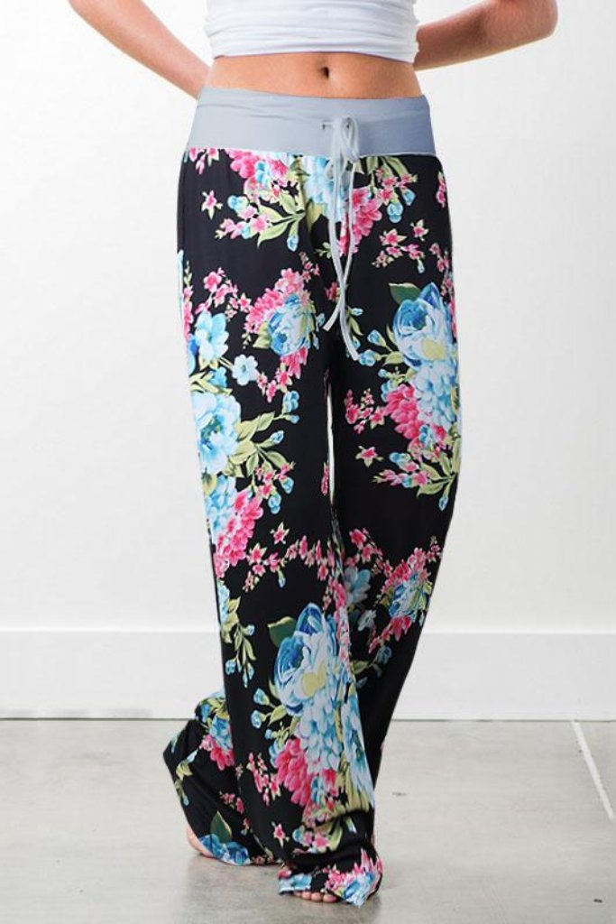 FLOWER LOUNGE PANTS WITH GREY WAIST