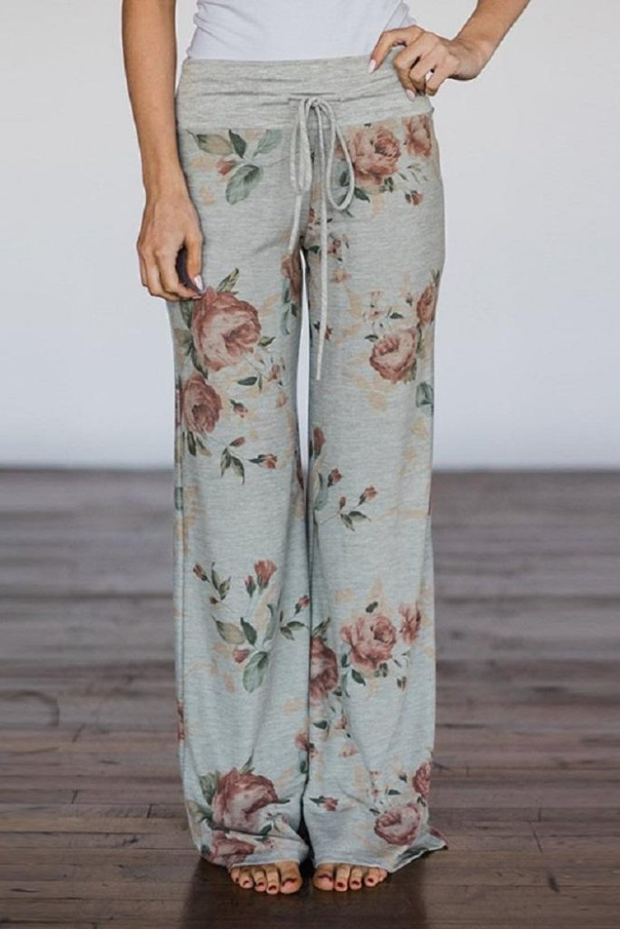 GREY WAIST FLORAL LOUNGE PANTS