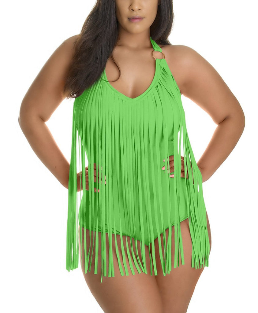 PLUS SIZE FRINGE ONE PIECE SWIMSUIT
