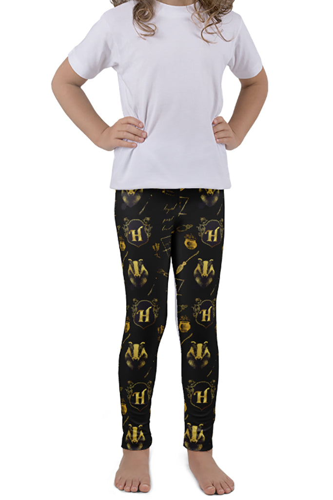 KIDS MAGICAL WIZARD SERIES BADGER HOUSE LEGGINGS - YOGA - EXCLUSIVE!