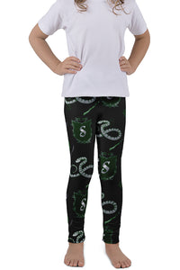 KIDS MAGICAL WIZARD SERIES SERPENT HOUSE LEGGINGS - YOGA - EXCLUSIVE!