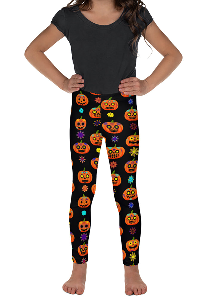 KIDS HALLOWEEN SUGAR SKULL PUMPKIN LEGGINGS - YOGA - EXCLUSIVE!