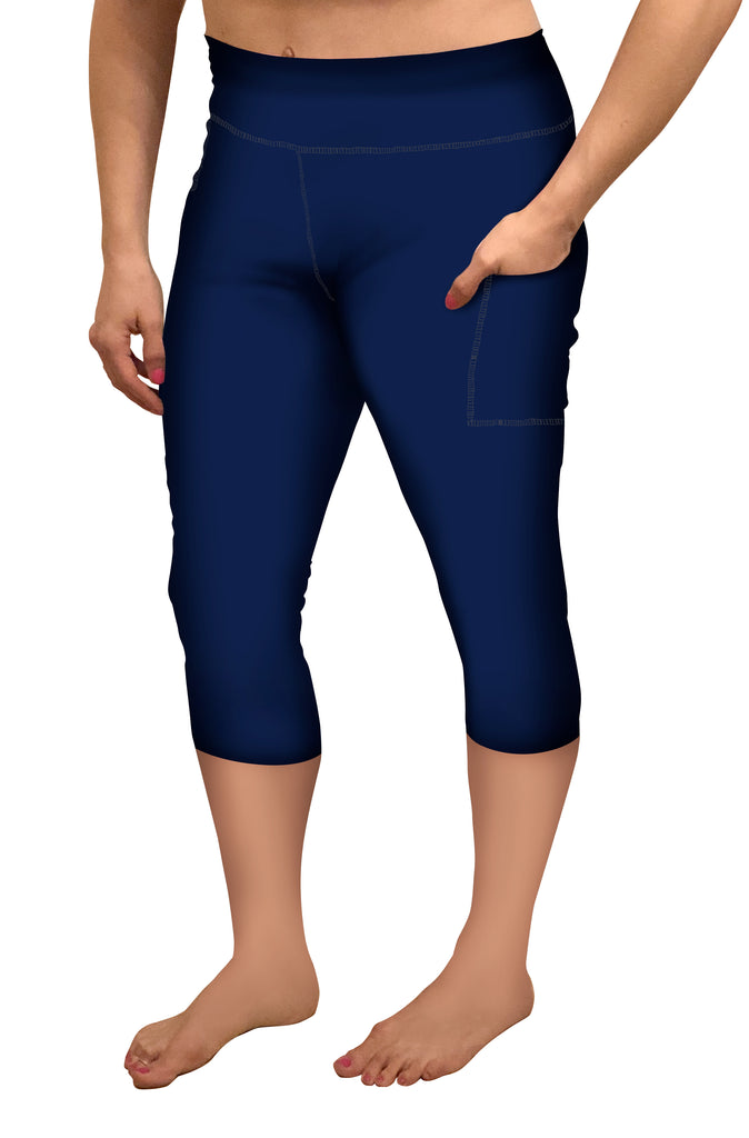 NAVY CAPRI WITH POCKETS LEGGINGS - YOGA - EXCLUSIVE!