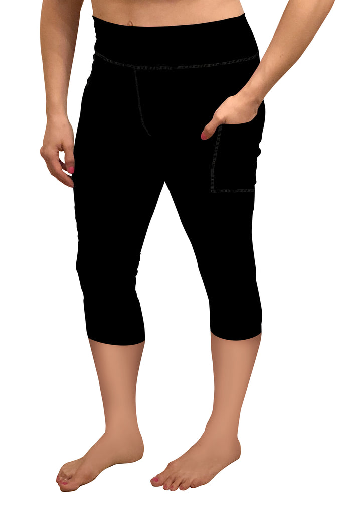 BLACK CAPRI WITH POCKETS LEGGINGS - YOGA - EXCLUSIVE!