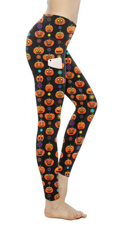 HALLOWEEN SUGAR SKULL LEGGINGS WITH POCKET - YOGA - EXCLUSIVE!