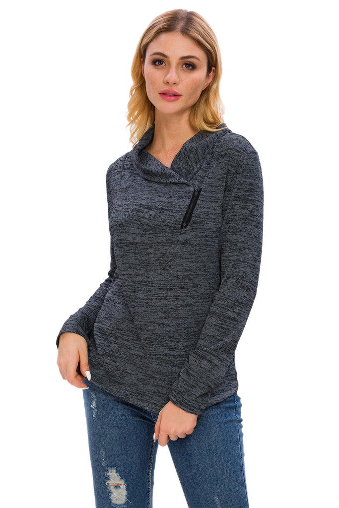 LONG SLEEVE HIGH NECK HEATHERED TOP