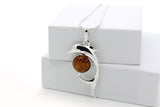 925 Sterling Silver Dolphin Pendant Necklace with Genuine Natural Baltic Amber. Chain included
