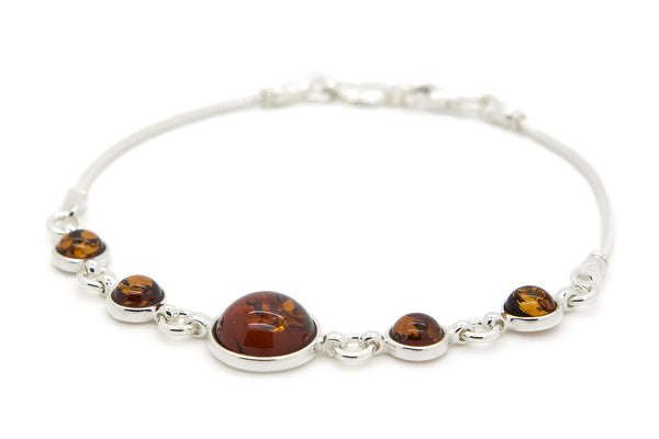 925 Sterling Silver Round Link Bracelet for Women with Genuine Natural Baltic Amber.