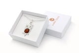 925 Sterling Silver Owl Pendant Necklace with Genuine Natural Baltic Amber. Chain included