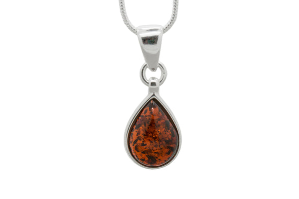 925 Sterling Silver Teardrop Pendant Necklace with Genuine Natural Baltic Amber. Chain included