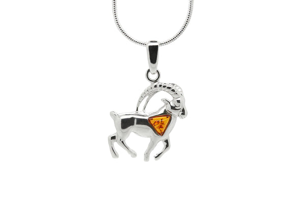 925 Sterling Silver Capricorn Zodiac Sign Pendant Necklace with Genuine Baltic Amber. Chain included
