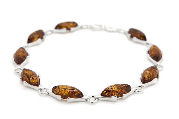 925 Sterling Silver Marquise Link Bracelet for Women with Genuine Natural Baltic Amber.