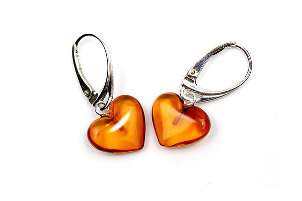 925 Sterling Silver Leverback Dangle Earrings Hearts with Genuine Natural Baltic Amber