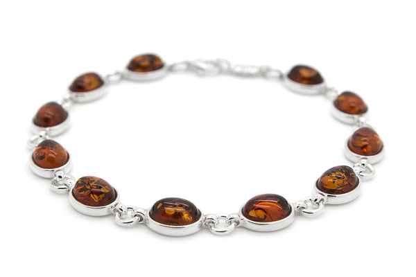 925 Sterling Silver Oval Link Bracelet for Women with Genuine Natural Baltic Amber.