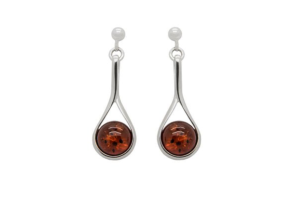 925 Sterling Silver Art Deco Stud Dangle Earrings with Genuine Natural Baltic Amber.