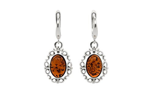 925 Sterling Silver Filigree Leverback Dangle Earrings with Genuine Natural Baltic Amber.
