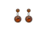 925 Sterling Silver Round Stud Dangle Earrings with Genuine Natural Baltic Amber.