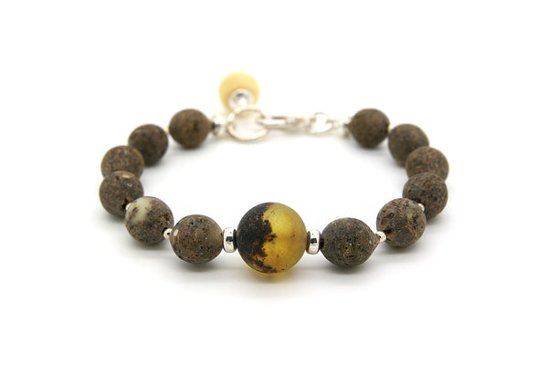 925 Sterling Silver Bracelet with Genuine Natural Baltic Raw Amber
