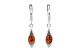 925 Sterling Silver Teardrop Leverback Dangle Earrings with Genuine Natural Baltic Amber.