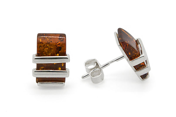 925 Sterling Silver Rectangle Stud Earrings with Genuine Natural Baltic Amber.