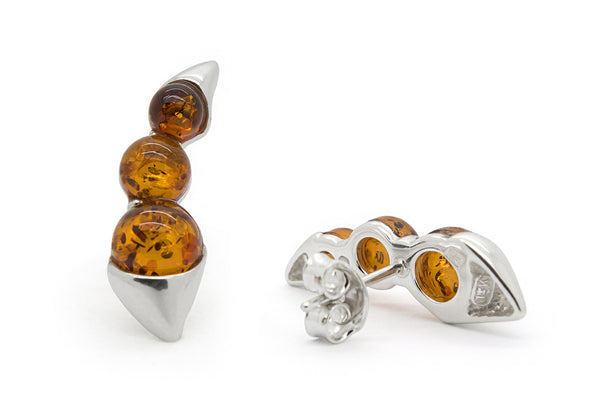925 Sterling Silver Climber / Crawler Stud Earrings For Women with Genuine Natural Baltic Amber.