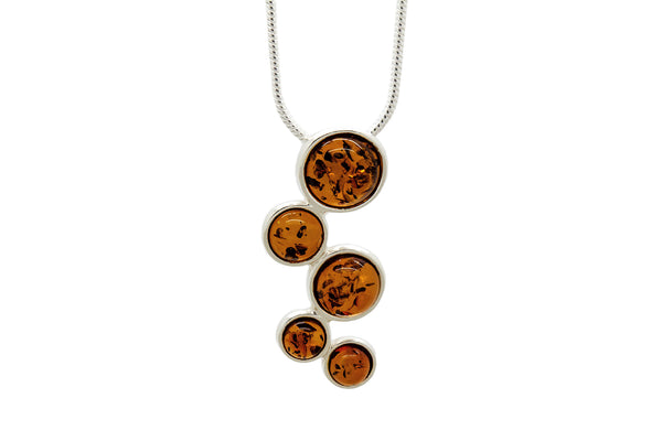 925 Sterling Silver Circles Pendant Necklace For Women with Genuine Natural Baltic Amber. Chain included