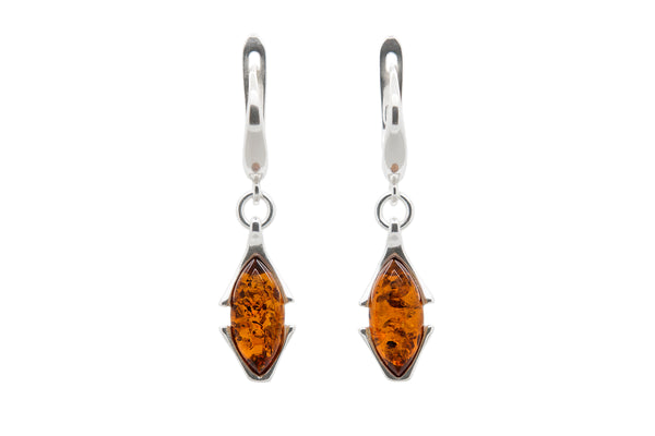 925 Sterling Silver Art Deco Leverback Dangle Earrings with Genuine Natural Baltic Amber.