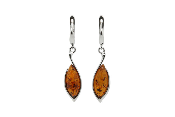 925 Sterling Silver Marquise Leverback Dangle Earrings with Genuine Natural Baltic Amber.