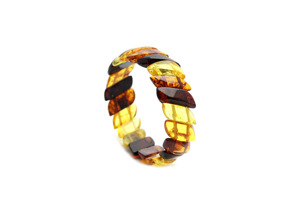 Genuine Natural Baltic Multicolored Amber Stretch Bracelet