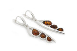 925 Sterling Silver Leaves Leverback Dangle Earrings with Genuine Natural Baltic Amber.