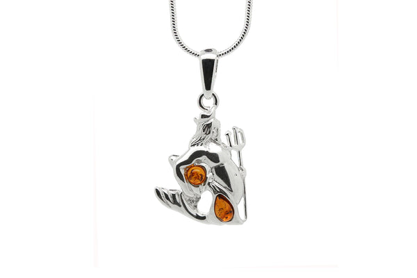925 Sterling Silver Aquarius Zodiac Sign Pendant Necklace with Genuine Baltic Amber. Chain included