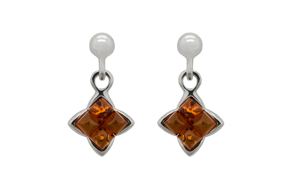 925 Sterling Silver Square Stud Dangle Earrings with Genuine Natural Baltic Amber.