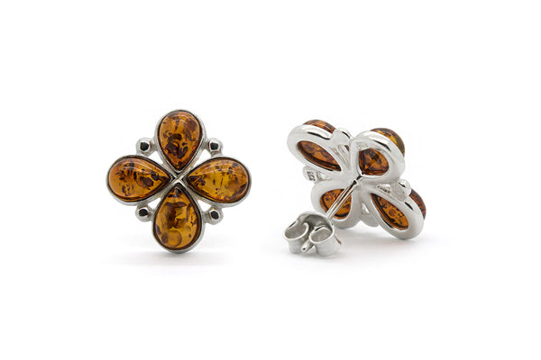 925 Sterling Silver Flower Stud Earrings with Genuine Natural Baltic Amber.