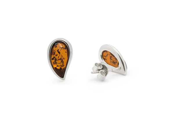 925 Sterling Silver Teardrop Stud Earrings with Genuine Natural Baltic Amber.
