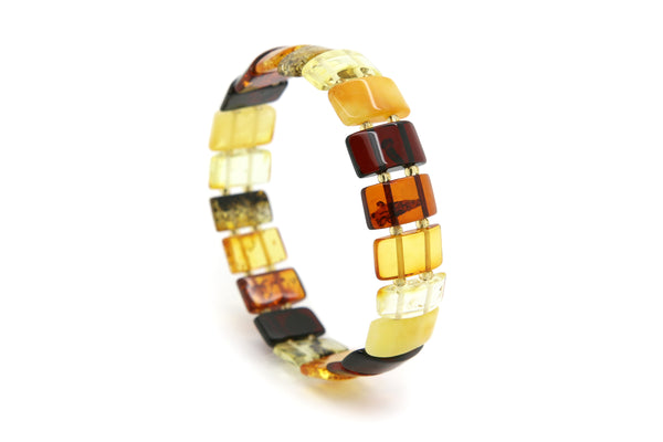 Genuine Natural Baltic Stretch Multicolored Amber Bracelet For Women