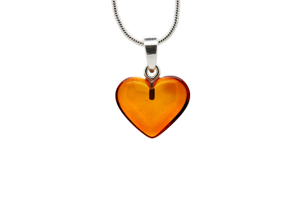 925 Sterling Silver Heart Pendant Necklace with Genuine Natural Baltic Amber. Chain included / Medium