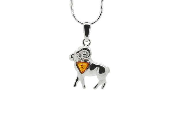 925 Sterling Silver Aries Zodiac Sign Pendant Necklace with Genuine Baltic Amber. Chain included