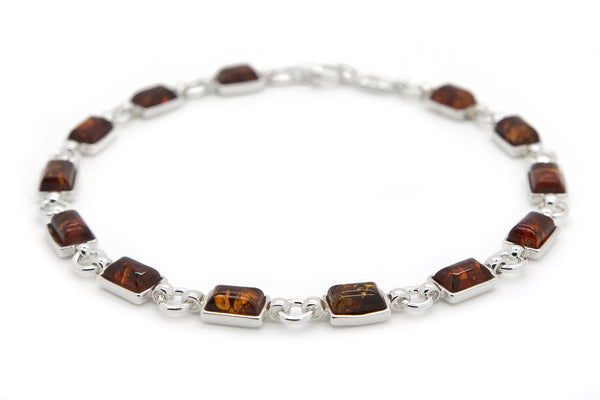 925 Sterling Silver Rectangle Link Bracelet for Women with Genuine Natural Baltic Amber.