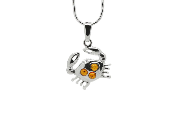 925 Sterling Silver Cancer Zodiac Sign Pendant Necklace with Genuine Baltic Amber. Chain included