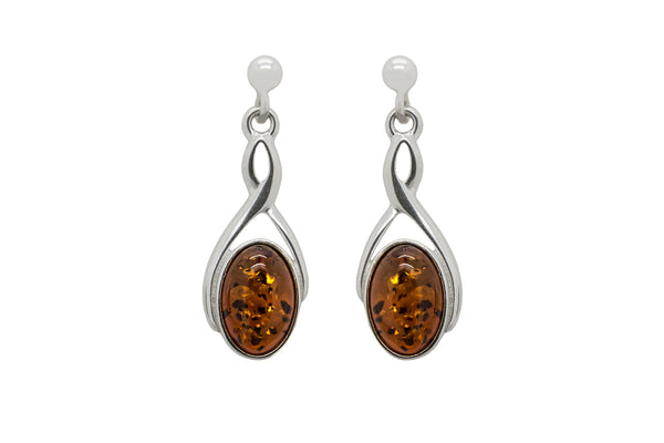 925 Sterling Silver Infinity Oval Stud Dangle Earrings with Genuine Natural Baltic Amber.