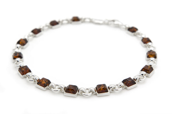 925 Sterling Silver Square Link Bracelet for Women with Genuine Natural Baltic Amber.