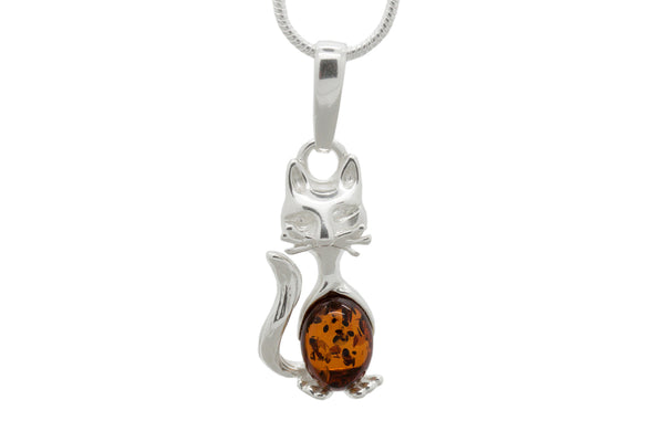 925 Sterling Silver Cat Pendant Necklace with Genuine Natural Baltic Amber. Chain included