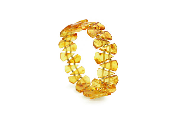Genuine Natural Baltic Stretch Honey Amber Bracelet For Women