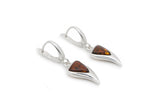 925 Sterling Silver Triangle Leverback Dangle Earrings with Genuine Natural Baltic Amber.