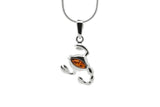 925 Sterling Silver Scorpio Zodiac Sign Pendant Necklace with Genuine Baltic Amber. Chain included