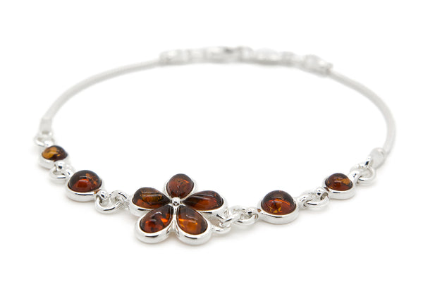 925 Sterling Silver Flower Link Bracelet for Women with Genuine Natural Baltic Amber.