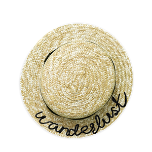 Personalized Wanderlust Straw Boater Hat | twobakedbuns