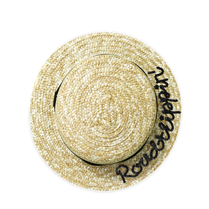 Personalized Sequins Roadtripping Straw Boater Hat | twobakedbuns